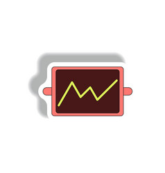 Line graph in paper sticker vector