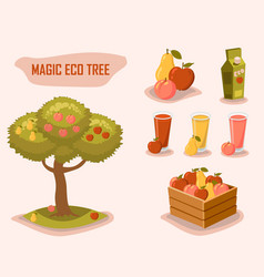 Magic eco tree gardening farm fresh retro style vector
