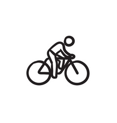 Man riding bike sketch ico vector