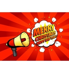 Merry Christmas banner with loudspeaker or vector image