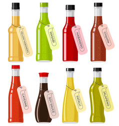 oriental sauce kinds in glass transparent bottles vector image