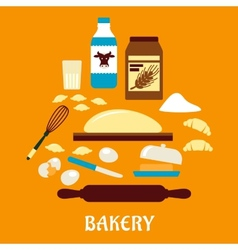 Process of kneading dough in flat style vector
