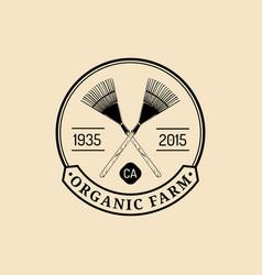 retro farm fresh logotype organic quality vector image vector image