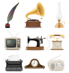 set of much objects retro old vintage icons stock vector image