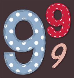 Set of stitched font - 9 Nine vector image vector image