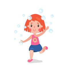 sweet redhead cartoon little girl having fun vector image vector image