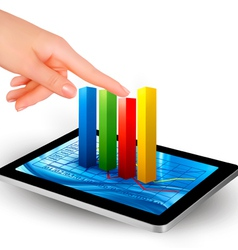 tablet with diagram and hand vector image vector image