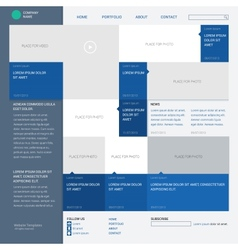 Template website built on the 16 column grid metro vector image