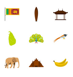 Travel to sri lanka icons set flat style vector
