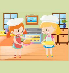 two girls baking pie in kitchen vector image