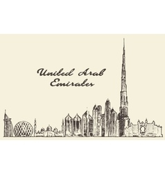 United arab emirates skyline drawn sketch vector
