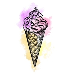 Watercolor ice cream cone vector