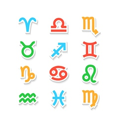 Zodiac symbol icons isolated on white vector