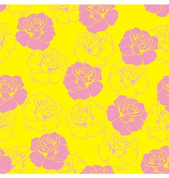 Seamless floral pattern background with pink roses vector