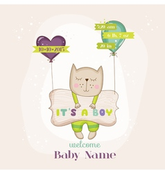 Baby cat with balloons - baby shower card vector