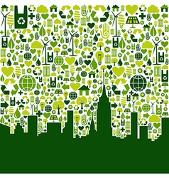 Green city eco icons background vector image