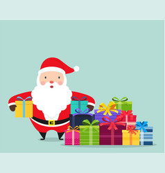 Santa claus with gifts in hands vector