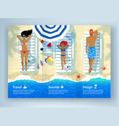 leaflet design with family lying on beach vector image