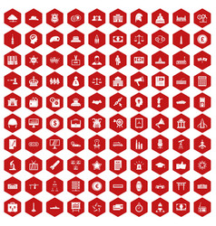 100 government icons hexagon red vector