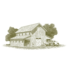 Woodcut farm work scene vector