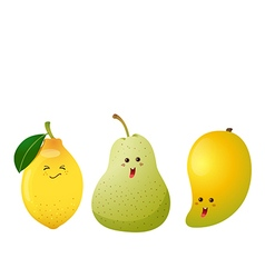Cute fruits lemon pear mango vector