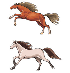 Two running horses vector