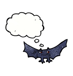 Cartoon spooky vampire bat with thought bubble vector