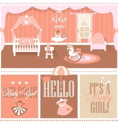 Baby girl shower cards nursery interior vector