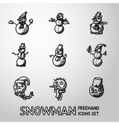 Set of freehand snowman icons with different vector