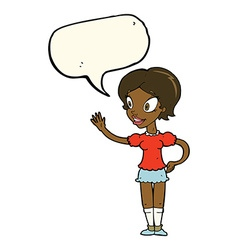 Cartoon waving woman with speech bubble vector