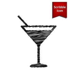 Coctail icon with pen effect vector image