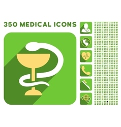 Snake cup icon and medical longshadow icon set vector