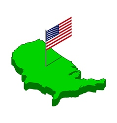 Usa isometric map with flag vector