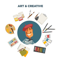 artistic materials and french painter vector image vector image
