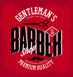 barber shop logo with scissors and mustache vector image vector image