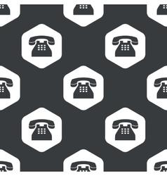 Black hexagon phone pattern vector