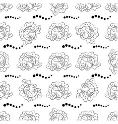Cabbage pattern coloring black outline vector