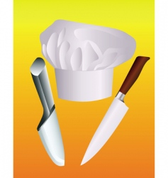 chefs hat with two knives vector image