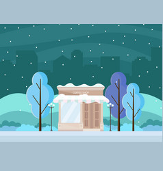 coffee shop in a city winter season vector image