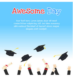 College graduation day card design with hands vector