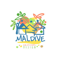 exotic island summer vacation maldive travel logo vector image vector image