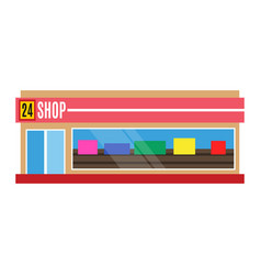 Flat design restaurant shop facade icon vector