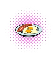 Fried eggs and sausages icon comics style vector image