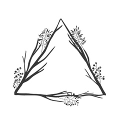 Gray scale of olive branch with triangle shape vector