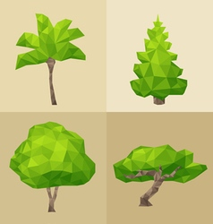Green tree set formed by triangles polygon vector