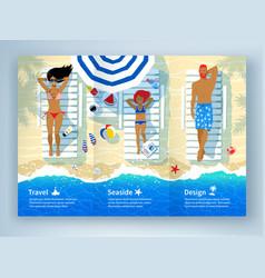 Leaflet design with family lying on beach vector