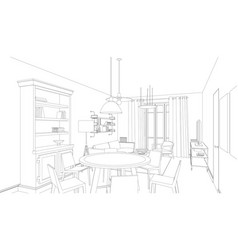 line drawing of the interior vector image vector image