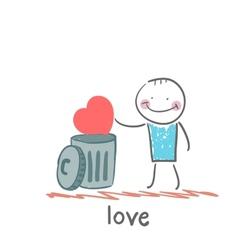 Man throws the heart into the bin vector