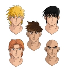 Men boys heads anime comic design vector