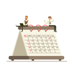 Micro businesmen sitting on a giant paper calendar vector
